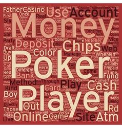 Pokermoney text background wordcloud concept vector