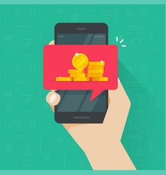 receiving web digital money on mobile phone vector image