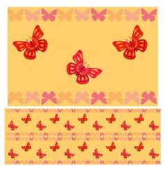 Red butterflies seamless pattern vector