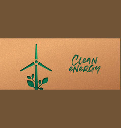 Renewable energy cutout banner green wind mill vector
