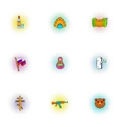Russia icons set pop-art style vector image
