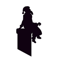 santa claus is a black silhouette sitting on vector image