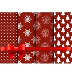 Set christmas red seamless backgrounds vector image