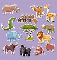 set of cute african animals stickers cartoon vector image
