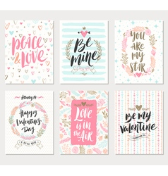 Set of Valentines Day greeting vector image