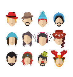 Set people icons with faces vector