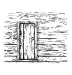 sketch hand drawn old rectangular wooden door in vector image