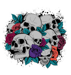 skull and flowers butterflies vector image