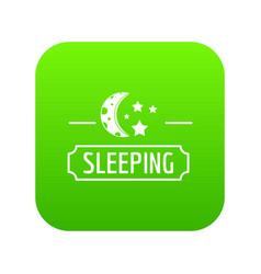 Sleeping moon icon green vector