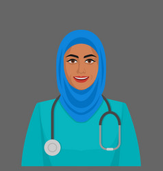 Smiling doctor muslim woman ith stethoscope vector