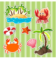 sticker design island and sea animals vector image