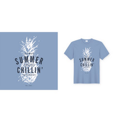 Summer chillin graphic tee design with vector