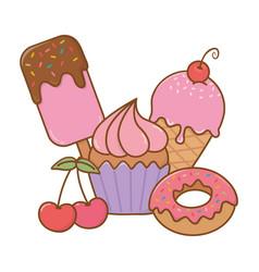 Sweet desserts icon vector