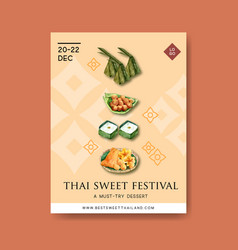 Thai sweet poster design with pudding golden vector