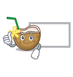 thumbs up with board cocktail coconut character vector image