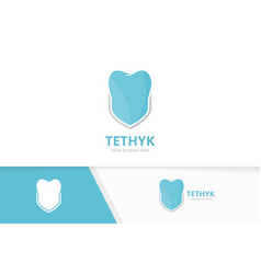 tooth and shield logo combination dental vector image