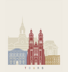 Tours skyline poster vector