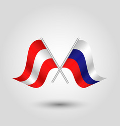 Two crossed austrian and russian flags on silver vector