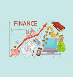 upward chart personal finance management concept vector image