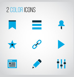 user icons colored set with link browser edit vector image