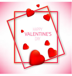 valentines day with red hearts on vector image