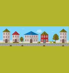 Various multi-colored buildings vector