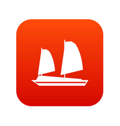 Vietnamese junk boat icon digital red vector