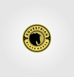 vintage equestrian black horse logo design vector image