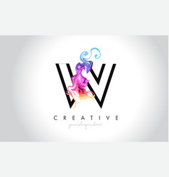 w vibrant creative leter logo design with vector image