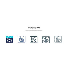 Wedding day icon in different style two colored vector