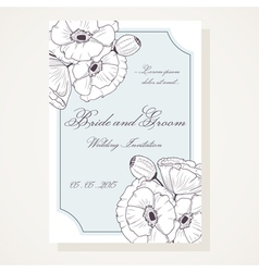Wedding shover with outline poppies vector image