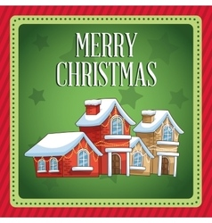 Winter houses of Christmas season design vector