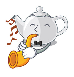 With trumpet porcelain teapot in table a character vector