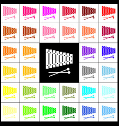 Xylophone sign felt-pen 33 colorful icons vector