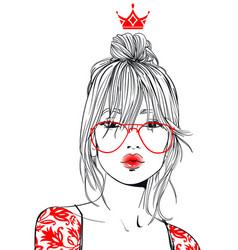 young beautiful woman with glasses vector image
