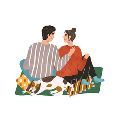 young couple hugging and sitting on carpet happy vector image