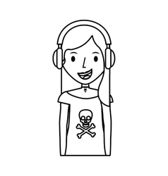 young woman avatar character with headphone vector image