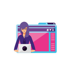 Young woman using laptop in webpage template vector