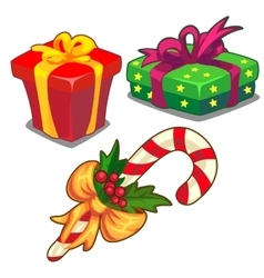 Christmas candy cane green and red gift box vector image vector image