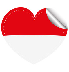 flag icon design for indonesia in heart shape vector image