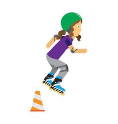 Girl on roller skates in protective equipment vector