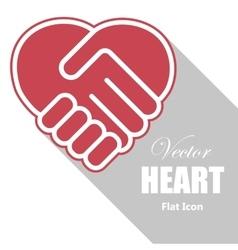 Handshake in a heart shape vector image