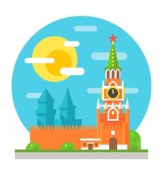 Kremlin clock tower flat design vector image