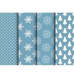 Set of blue and white seamless backgrounds for vector image vector image