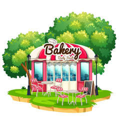bakery shop with dining tables vector image vector image