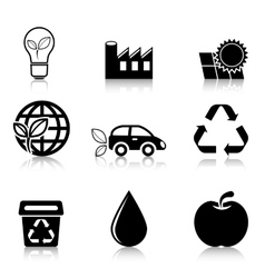 Ecology Icons Set with reflection vector image