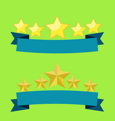 five stars on blue ribbon flat design with light vector image