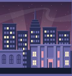 night city buildings urban dark scape style vector image