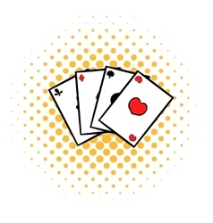 Playing cards icon comics style vector image