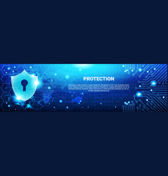 protection shield blue polygons over circuit vector image